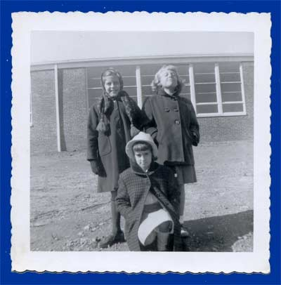 "Norma, Diane and Scottie at the ""new"" Elementary School"